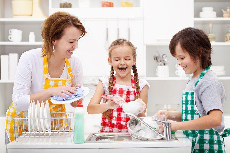 children doing chores